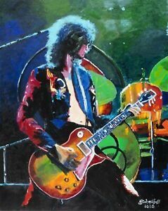 Jimmy Page Trampled Under Foot -  Acrylic Painting on Canvas