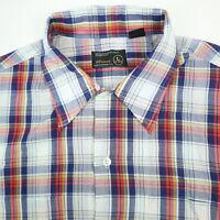 Vtg JC Penney Shirt Mens LARGE Paper Thin Rockabilly Greaser Plaid Short Sleeve