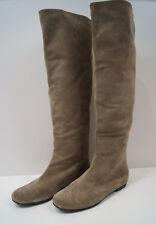 GIUSEPPE ZANOTTI Beige Goat Suede Flat Round Toe Knee High Boots Sz:40; UK7