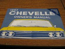 1967 67 CHEVELLE, MALIBU, EL CAMINO (ALL MODELS) OWNERS MANUAL