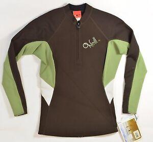O'Neill Bahía Estilo #2638 Mujer 1/4 Cremallera Traje Talla 12 Chocolate Sage