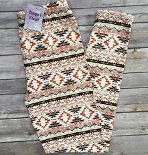 Tribal Aztec Geometric Leggings Tan Orange Brown Print One Size OS