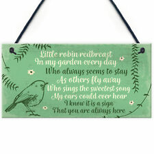 Robin Redbreast Memorial Bereavement Plaque Garden Grave Sign Xmas Family Gift
