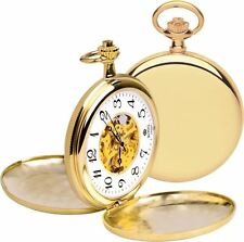 Royal London Pocket Watch Brass Case White Skeleton Dial 90004-01