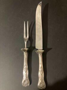 Vintage Sterling Handle Stainless Blade Carving Knife & Fork Set Sheffield Made