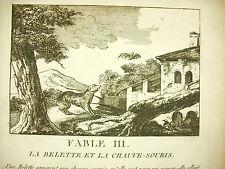 Fábula de la Fuente la Comadreja & el murciélago c1800 Comadreja & bat story