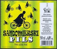 Poland Brewery Czarny Kot Sandomierski Beer Label Microbrewery Cat Bike 38.1