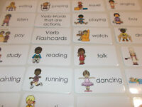 23 Verb Picture Word Flashcards.  Preschool thru 4th grade laminated educational