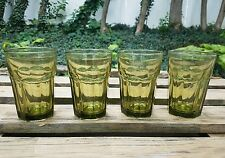 4 Libbey Gibraltar Spanish Green Juice Glasses Duratuff Rock Sharpe Mid Century