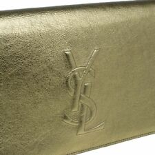 Saint Laurent YSL Belle De Jour Metallic Gold Flap Evening Clutch Sac Bag 361120