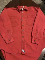 Vintage Levi Green Tag Long Sleeve Red Cotton Denim Mens Work Shirt Medium M