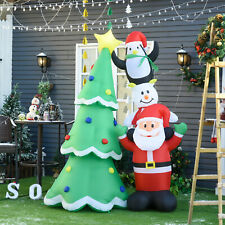 2.43m Inflatable Christmas Tree & Santa Decoration w/ Flashing LED Lights
