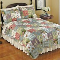 BEAUTIFUL PATCHWORK VINTAGE COUNTRY IVORY PINK RED GREEN BLUE ROSE QUILT SET NEW