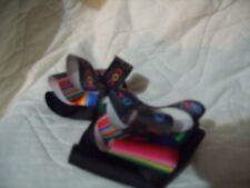 hair bow Coco Mexican blnket sripped ribbon and ribbon with sugar skulls colorfu