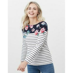Joules Harbour Print Jersey Top - Floral Border Stripe - 8 10 12 14 16 18 - BNWT