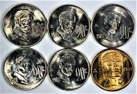20 Centavos Mexico Gem Uncirculated Lot/Set 1974, 1975, 1977, 1978, 1982 & 1983