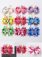 "Colorful 4pcs 4"" Baby Girl Boutique Grosgrain Hair bow 2802-18-26 ( 9 colors )Y"
