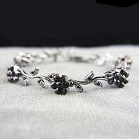 Antique style with Swarovski crystals filigree flowers black bangle bracelet