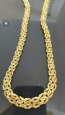 14k  vintage yellow  gold Byzantine  hallow necklace chain,unique , 17 3/4 inch