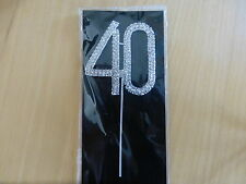 SILVER METAL NUMBER 40 CUPCAKE TOPPER BIRTHDAY DECORATION 40TH DIAMANTE PICK
