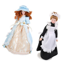 2PCS 1/12 Doll House Porcelain Dolls Victorian Lady & Doll Servant W. Stand