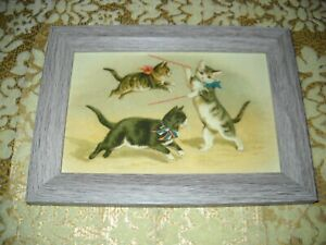 KITTENS TAUGHT TO JUMP 4 X 6 gray WOOD framed picture Victorian style art print