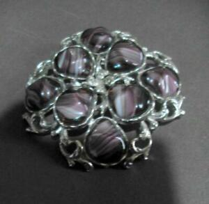 Large Silver Tone Mounted Brooch or Scarf Pin with Insets 12659