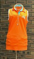 Penguins Munsingwear Womens Size USA M Orange Polo Golf Shirt Top Sleeveless