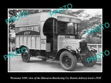 OLD LARGE HISTORIC PHOTO OF WOONONA NSW, THE ILLAWARRA BUTCHERS TRUCK c1920