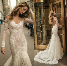 Ivory White Long Sleeves Wedding Dresses Bridal Ball Gowns Backless Mermaid Sexy