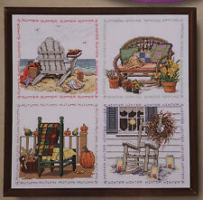 "Janlynn Cross Stitch Kit Four Seasons Chairs 16"" x 16"""