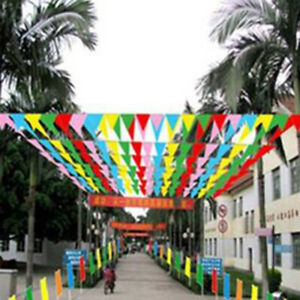 8 M Colorful Triangle Flag Pennant String Banner Festival Party Holiday DecorI0M