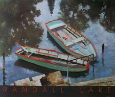 Rowing boats print, Randall Lake print - 55x65cms - vintage rowing boat poster