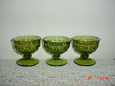 """3-PC INDIANA GLASS """"GREEN CUBE"""" 3 3/4"""" PUDDING-DESSERT SERVING GLASSES/CLEARANCE"""