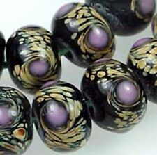 Lampwork Glass Moonlight Rondelle Beads (12)