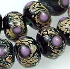 Lampwork Glass Moonlight Rondelle Beads (12)