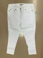 New! WOMAN WITHIN plus size petite white pencil skinny ankle jeans