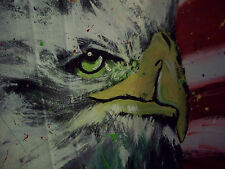 Patriotic USA America Stars and stripes Eagle HUGE original PAINTING FREEDOM