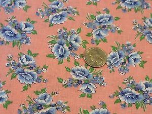 FULL Vintage feedsack: opened,  Pink with Blue Flowers
