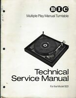 BIC Model 920 Turntable Technical Service Manual