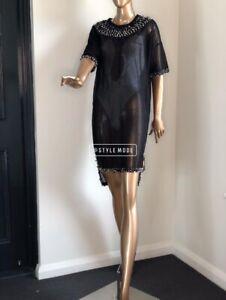 Unique Long T-shirt Studded Rhinestones Gliteratti Handmade Sheer Clubbing Costu