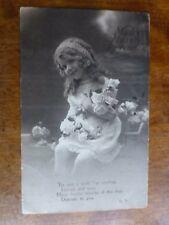R116 MANY HAPPY RETURNS Little Girl Greetings Postcard c1920 BROMO GILT BIRTHDAY