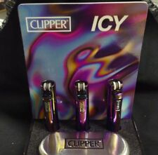 CLIPPER METAL LIGHTER REFILLABLE ICY PURPLE WITH SPECIAL METAL CARRYING CASE