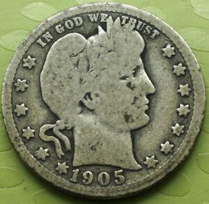 1905 Barber Quarter 25C Coin! 295