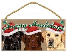 "LABRADORS--3 DOGS--Happy Howlidays Dog Decorative Wood Plaque/Sign 5"" x 10"""