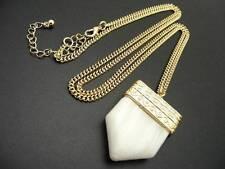 "$18 Carole White Stone Pendant Tooth Chevron Arrowhead 33"" Long Chain Necklace"