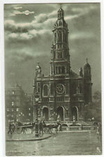 La Trinite Church Moonlight Night Paris France 1910c postcard
