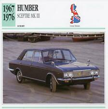 1967-1976 HUMBER SCEPTRE Mk.III Classic Car Photograph / Information Maxi Card