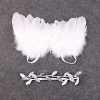 Newborn Baby White Angel Wings Headband Costume Photo Photography Props Outfits-