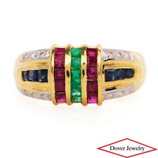 Estate Diamond 1.38ct Ruby Emerald Sapphire 18K Gold Fancy Ring NR